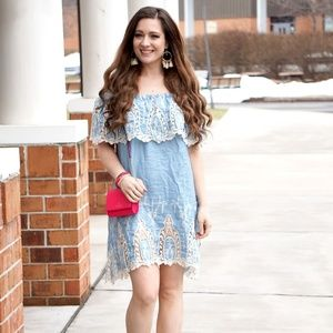 Chambray Off the Shoulder with Lace Women's Dress
